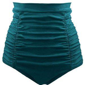 Green Retro High Waisted Swim Short